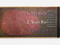 "My Rules Your Rules Yardsticks, 4' x 8' x 5"", oil paint on wood panel, found objects"