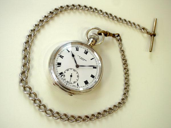 J.Wベンソン 銀無垢 懐中時計