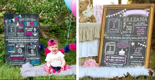 Personalized Adorable Birthday Chalkboard Sign