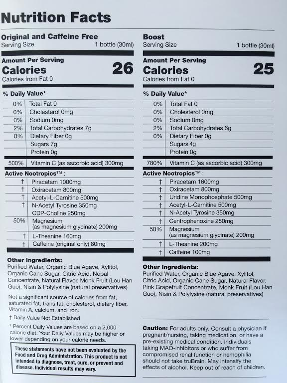 trubrain nutrition facts