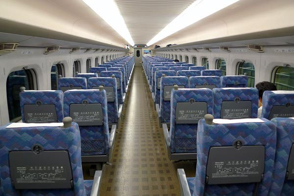 Inside a shinkansen carriage - rows of seats