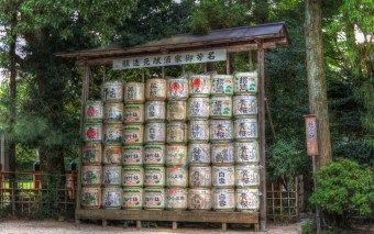 Kazaridaru: Decorative Sake Barrels at a World Heritage Shrine in Kyoto (HDR Photo)