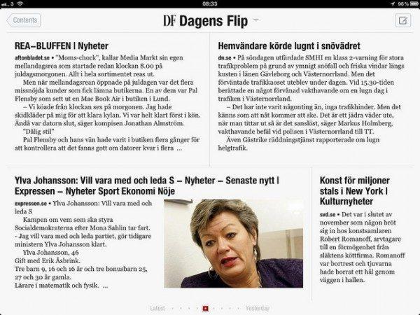 Dagens Flip (DF) Nyheter på svenska, anpassade för Flipboard