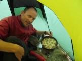 Martin Hess and his cinnamon rolls; yummy. Lucky me!