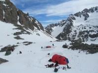 Perimeter camp on the Cameron Glacier, Arrowsmith Range, NZ