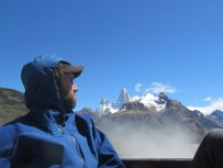 Hitching a ride back to El Chalten after a successful gear caching mission