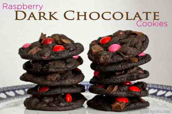 Raspberry Dark Chocolate Cookies by JavaCupcake.com