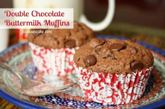 Double Chocolate Buttermilk Muffins | JavaCupcake.com
