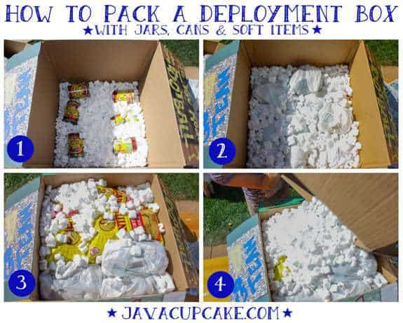 How to pack a deployment box with cans, jars and soft items by JavaCupcake.com