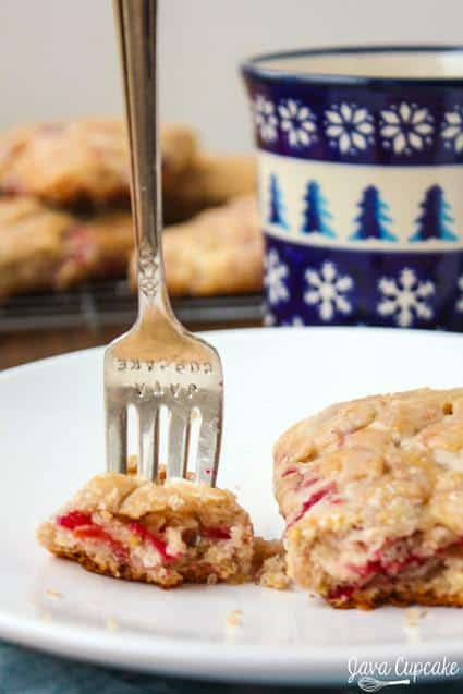 Cranberry Sauce Orange Scones - fresh cranberry sauce paired with the zest and juice of an orange make these scones perfectly delicious! | JavaCupcake.com