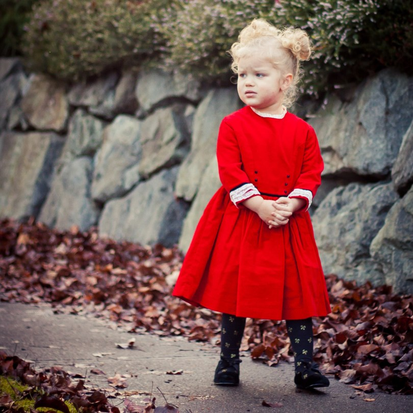 everly in vintage christmas red velvet dress