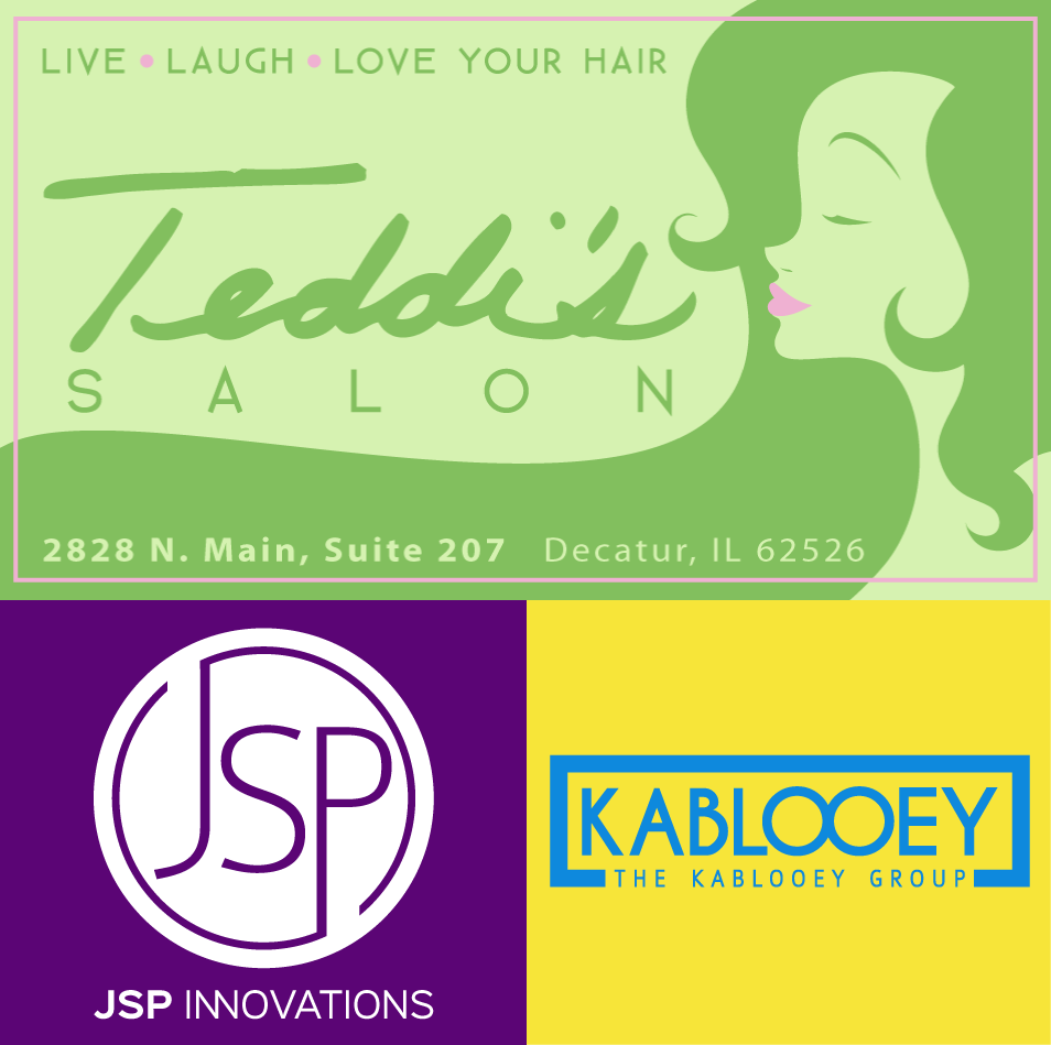 """Recent branding work. In addition to general purpose collateral like biz cards, signage, and such, I got to paint the """"green lady"""" on a wall at Teddi's actual salon!"""