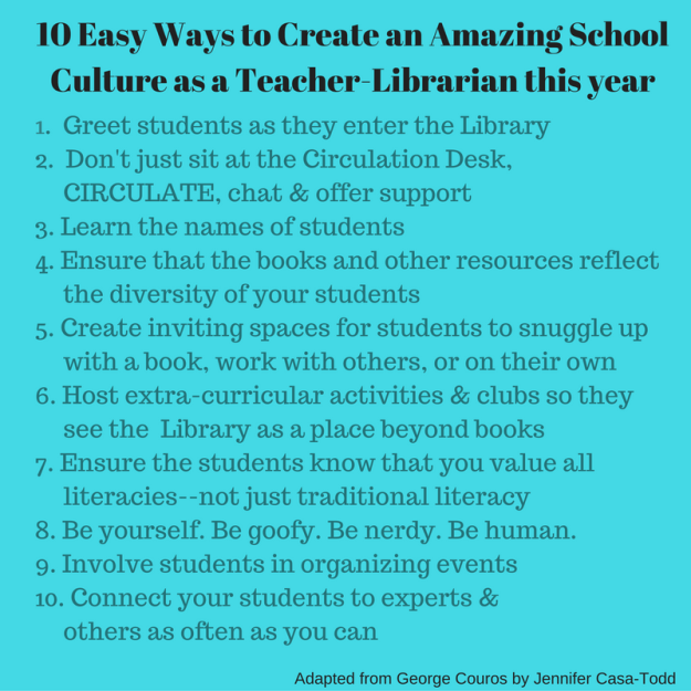10 Easy Ways to Create an Amazing School Culture as a Teacher-Librarian this year (2)