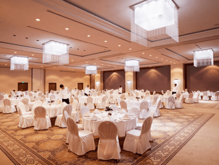An event hall in the Moevenpick Hotel in Ramallah