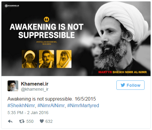 Awakening is not suppressible. 16/5/2015 #SheikhNimr, #NimrAlNimr, #NimrMartyred pic.twitter.com/bVTz61FTDN — Khamenei.ir (@khamenei_ir) January 2, 2016