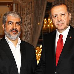 Hamas' Khaled Mashal and Turkey's President Recep Tayyip Erdogan