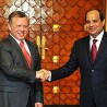Egypt's President Abdel-Fatah El-Sisi (right) greets King Abdullah II of Jordan