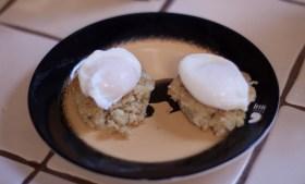::Poached Eggs Over Cauliflower & Quinoa::