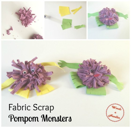 fabric scrap pompom monsters recycle project junk play