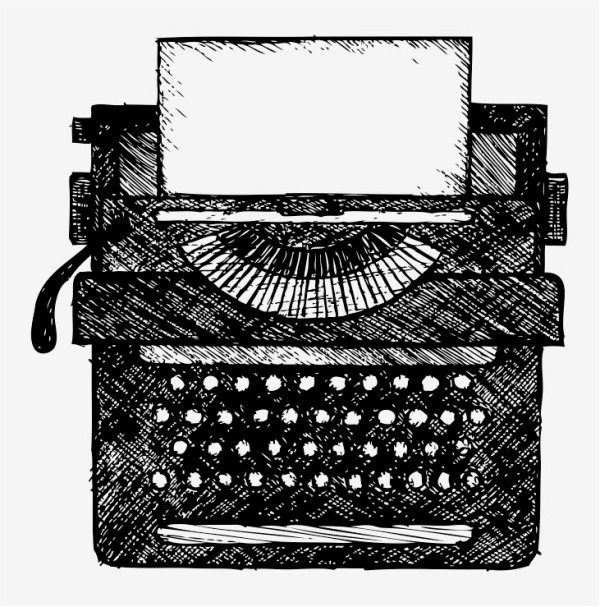 line drawing of typewriter