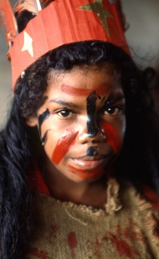 Indigenous Girl Dressed As Indian for School Performance