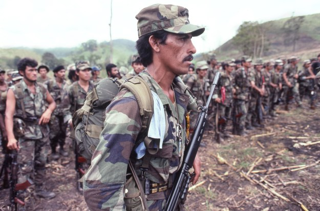 Contra Soldiers Form Up to Hear Speech From Their Leader About Disarming