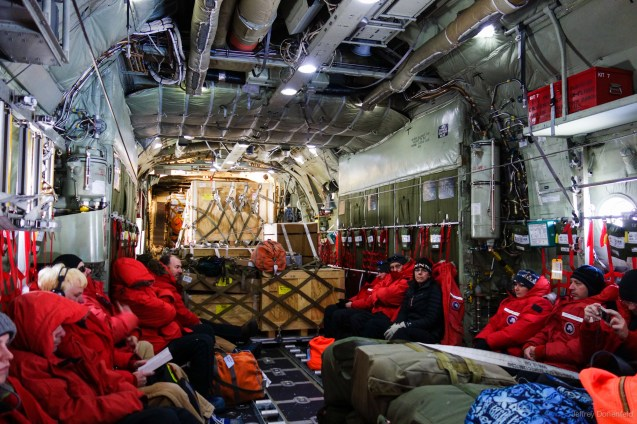 "Inside the ""herc"", everybody sits along the wall, with bags and equiptment in the middle and in back. The airplane is loud, and earplugs are passed out at the start of the flight."