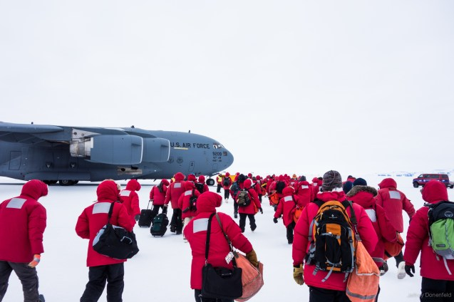 Finally leaving the ice on an Air Force C-17 Globemaster III. Read more about my experiences in Antarctica at http://JeffreyDonenfeld.com/Antarctica and contact me at Jeffrey@JeffreyDonenfeld.com .