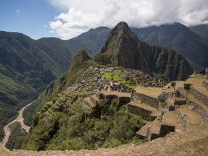 View of Machu Picchu with Urubamba River below.