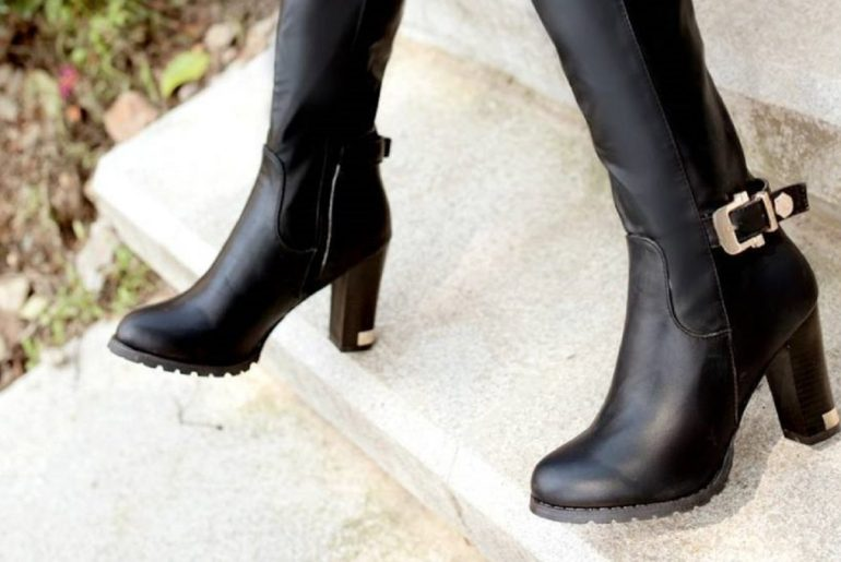 New-2015-Autumn-Winter-Women-shoes-Knee-boots-High-heels-Ladies-boots-Buckle-Zipper-Pointed-toe