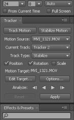 AE Tracking Tools Parameter