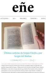 Sergio del Molino reseña Últimas noticias de la escritura en la revista Ñ Sergio Chejfec