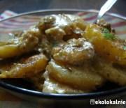 Gratin z ziemniaków, selera i grzybów leśnych