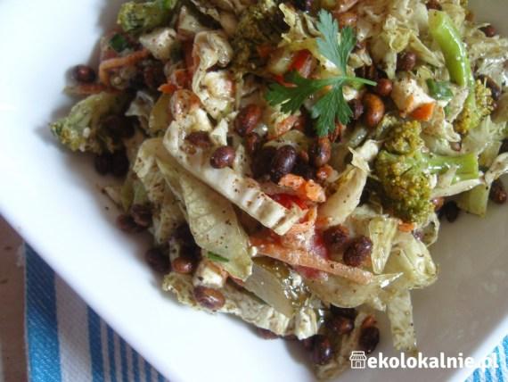 Sałatka brokułowa z fetą i innymi warzywami