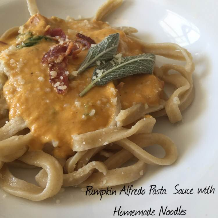Pumpkin Alfredo Pasta Sauce with Homemade Noodles