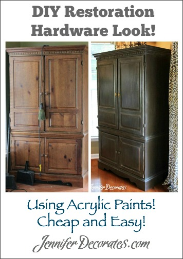 DIY Restoration Hardware Look using acrylic paints!  Cheap and Easy!  Jenniferdecorates.com