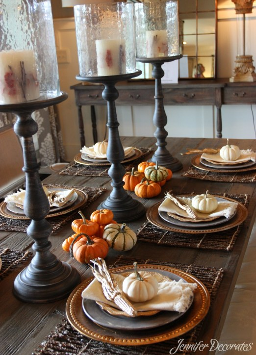 Fall table decorating ideas from Jennifer Decorates. Beautiful table from Julie McCoy Interiors