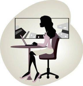 vector image of businesswoman using laptop