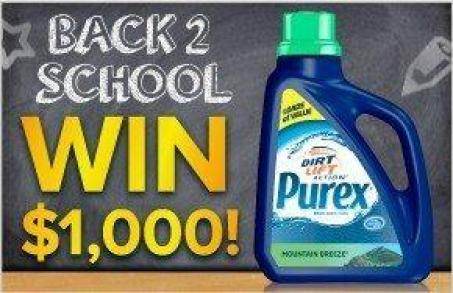 Purex Back To School $1000 Sweepstakes Don't Miss The Purex $1000 Back To School Sweepstakes!