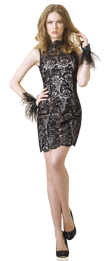 Lace Mock Neck Dress from Spiegel Check Out The Great Fashion, And Amazing Prices At Spiegel!