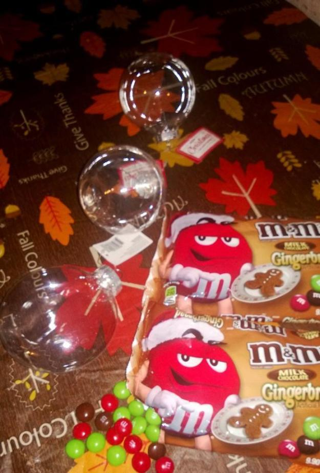 M&M and Decorations sitting out on table Sweet & Easy Decorations for Christmas Using Holiday M&Ms Easy Decorations