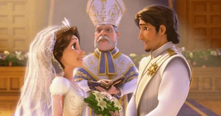 """Tangled,"""" Eugene Fitzherbert aka Flynn Rider and Rapunzel getting married Secrets In Disney's Frozen There's Some Hidden Secrets In Disney's Frozen! #DisneyFrozen hidden things in the movie frozen"""