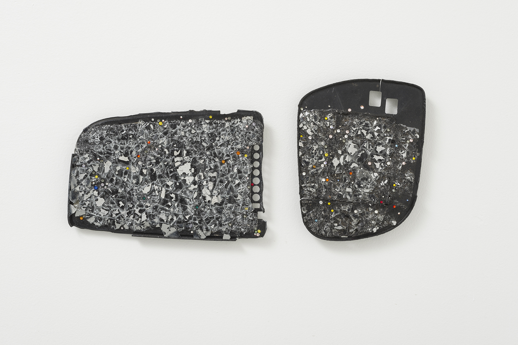 - Butt Model 119, 2015, rearview mirrors, crystals. 2 parts, 8 1/2 x 16 1/2 overall