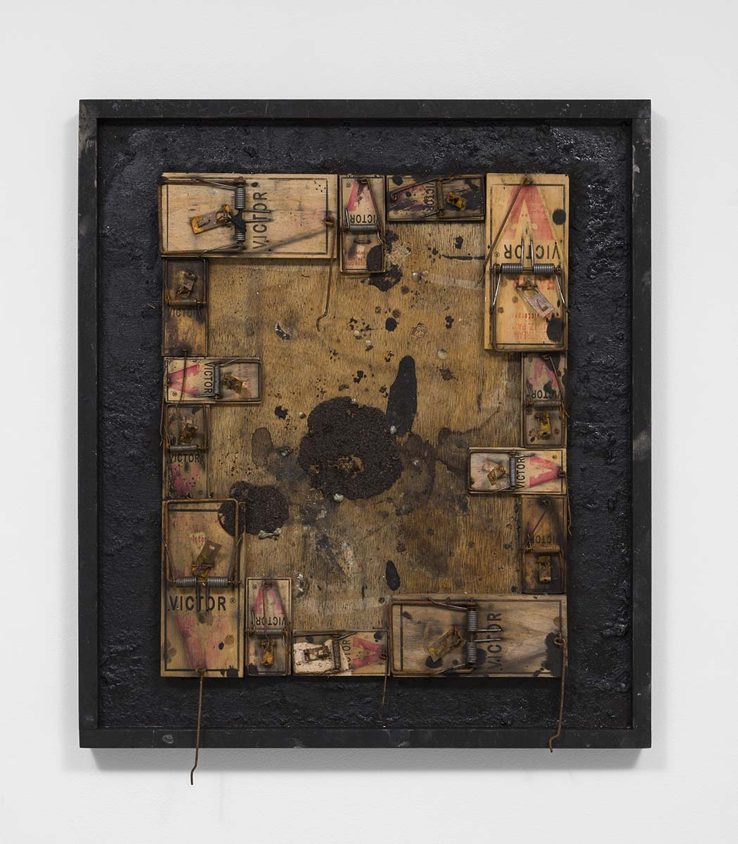 Richard Hawkins - Plague Trap, 2015,  traps, foodstuff, rat droppings and tar in artist's frame, 25 ¾ x 22 ¾ x 2 ¾ inches