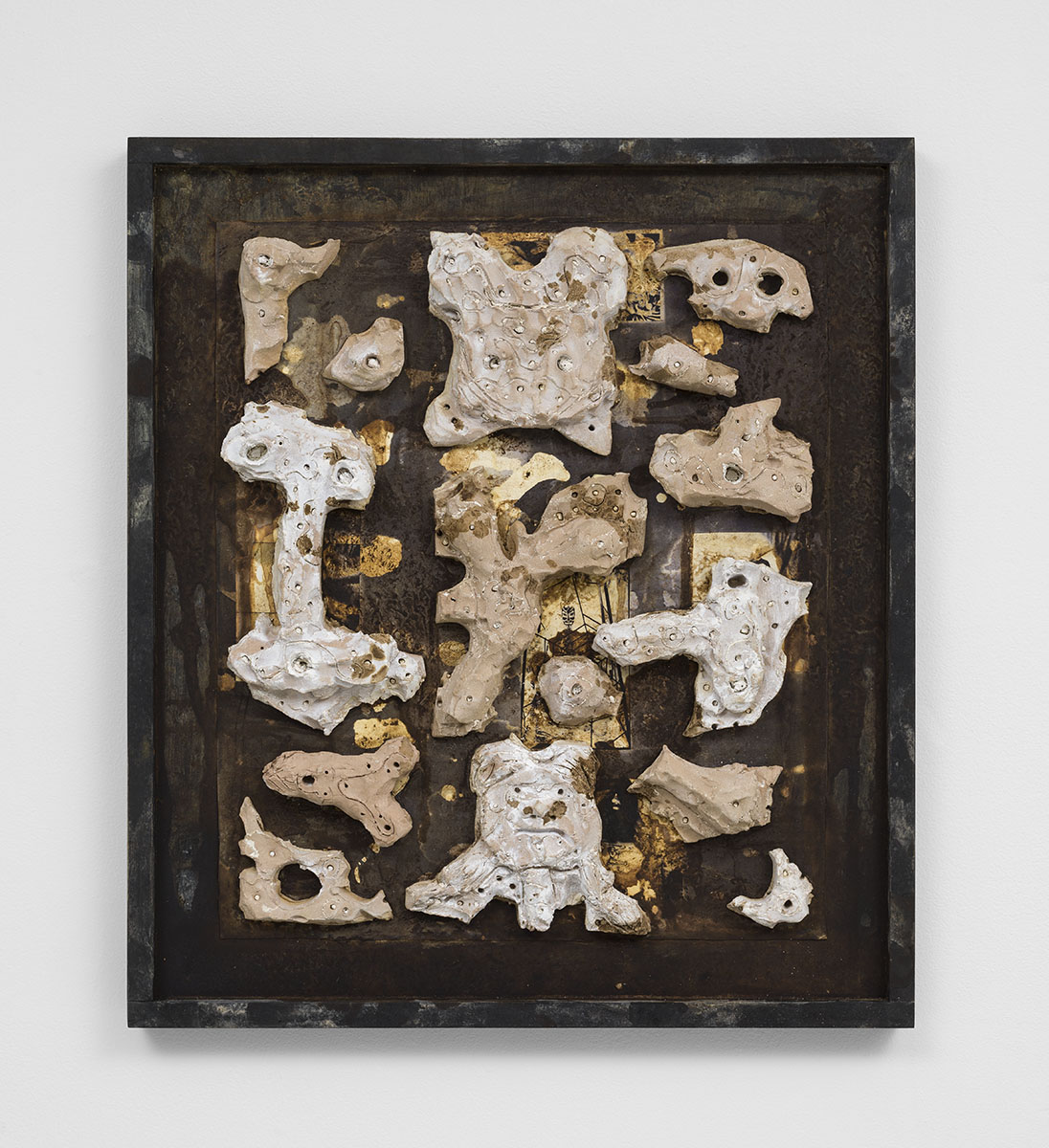 Richard Hawkins - Robot Engine Parts 2, 2015, unglazed ceramic and tar in artist's frame, 25 ¾ x 22 ¾ x 2 ¾ inches