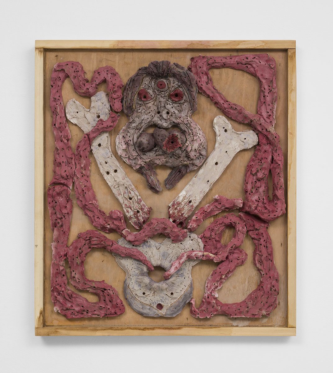Richard Hawkins - Cannibal's Feast, 2015, glazed ceramic in artist's frame, 25 ¾ x 22 ¾ x 5 ½ inches