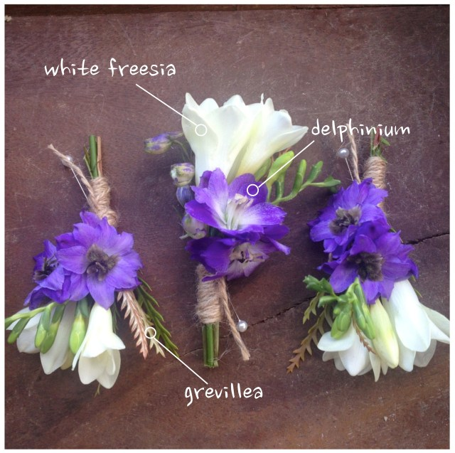 Freesia and Delphinium Boutonniere || by Jen's Blossoms