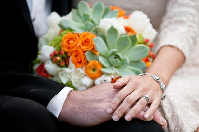 White, Orange, & Green Bouquet with Succulents by Jen's Blossoms | © Kimberly Kay Photography
