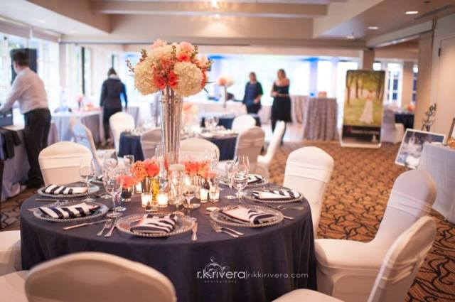 Navy & Coral Tabletop by Jen's Blossoms || Photo by Rikki Rivera Photography
