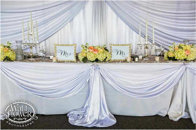 Chambers Bay Wedding Reception Head Table || Flowers By: Jen's Blossoms || Photo By: WallflowerPhoto